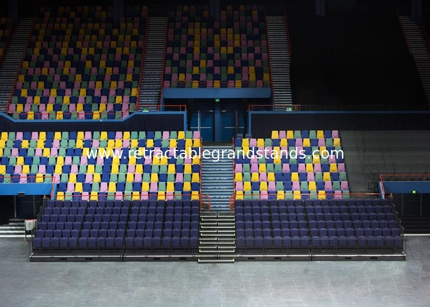Premium Retractable Bleacher Seating Lether / Fabric Upholstery For Art Centers